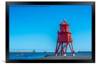 Herd Groyne lighthouse at South Shields, Framed Print