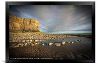 The cliffs and beach at Nash Point, Framed Print