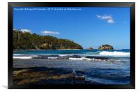 View across tessellated pavement to Clydes Island, Framed Print
