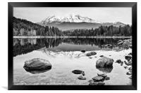 A dramatic view of Mount Shasta from Lake Siskiyou, Framed Print