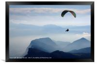 Parapenting in the French Alps, Framed Print