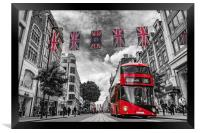 British bus and flags in Oxford Street, London, Framed Print