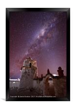 Milky Way Above Parinacota Village Church Chile, Framed Print