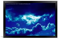 Blue clouds and moon, Framed Print