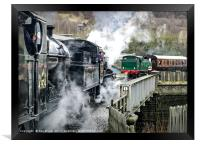 Three steam trains, 43924, 78019 and Nunlow 1704, Framed Print
