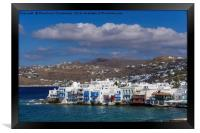 Mykonos Town, Greece Little Venice day view., Framed Print