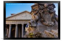 Rome, Italy Fountain of the Pantheon detail., Framed Print