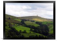 stoodley pike monument in west yorkshire landscape, Framed Print