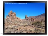 rock formations in teide national park, Framed Print