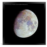 Waxing gibbous color Moon on black sky, Framed Print