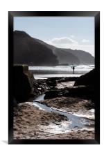 Rocky silhouettes, Perranporth., Framed Print