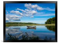 The Blue Boat and Reflections - Laugharne Estuary., Framed Print
