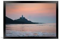 Sunrise at Mumbles lighthouse., Framed Print