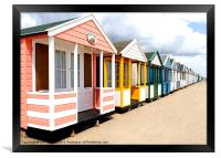 Colourfull Beach Huts at Southwold in Suffolk, Framed Print