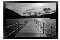 Aira Force Pier, with silohuettes of near and dist, Framed Print
