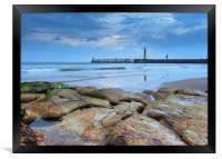 Whitby pier from the North Beach, Framed Print
