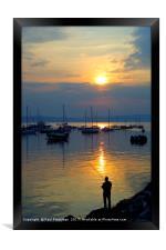 Angler at Sunset, Brixham, Framed Print