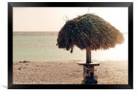 A parasol in the idyllic Baby Beach, Aruba, Framed Print