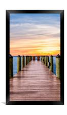 Adirondack Chairs at End of Pier, Framed Print