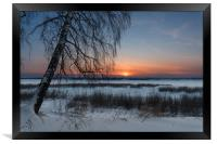 The setting sun on a frosty evening, Framed Print