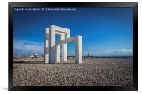 Structure On The Beach In Le Havre, France, Framed Print