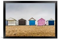 Beach huts along Calshot , Framed Print