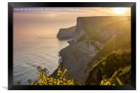 Sunset along the Jurassic coast in Dorset, England, Framed Print