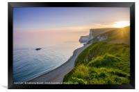 Jurassic Coast Dorset sunset , England, Framed Print