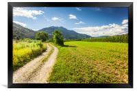 Rural road in Trento among Alps, Framed Print