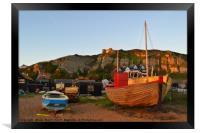 Hastings Old Town Fishing fleet at Sunset, Framed Print