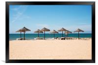 tropical parasols on the algarve beach, Framed Print