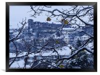 Denbigh castle hidden behind the snow, Framed Print