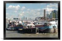Thames barges and Canary Wharf, Framed Print