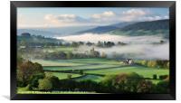Llanhamlach Old School as an autumn mist rises., Framed Print
