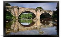 Green Bridge, Richmond, reflection in River Swale., Framed Print