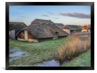 Thatched Boat House at Sunrise, Framed Print