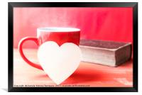 Paper heart on a cup of hot coffee, Framed Print