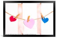 Three paper hearts on a string, Framed Print