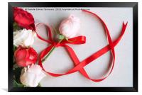 Roses and red ribbon in shape of infinity, Framed Print
