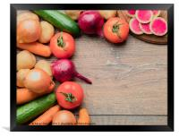 Set of fresh vegetables for a healthy cooking on w, Framed Print