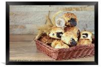 Sweet rolls with poppy seeds lie in a wicker baske, Framed Print