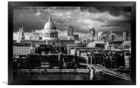 St. Paul's Cathedral and Millennium Bridge, London, Framed Print