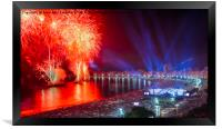 Iconic and breath-taking fireworks display on Copa, Framed Print