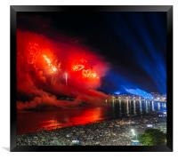 Heart-shaped fireworks at NYE party in Rio, Brazil, Framed Print