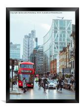 Red bus in City of London, Framed Print