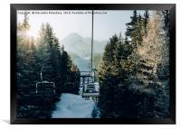 Chairlift at ski resort, Framed Print