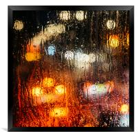 Raindrops on street window, Framed Print