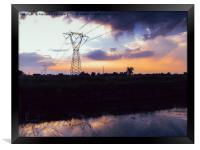 Lattice Towers Sunset, Framed Print