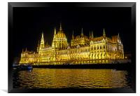 Hungarian Parliament at night                     , Framed Print