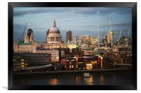 City of London and St Paul's Cathedral at dusk, Framed Print